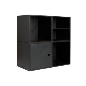 Black 4 Cube Kit with Door and Shelf