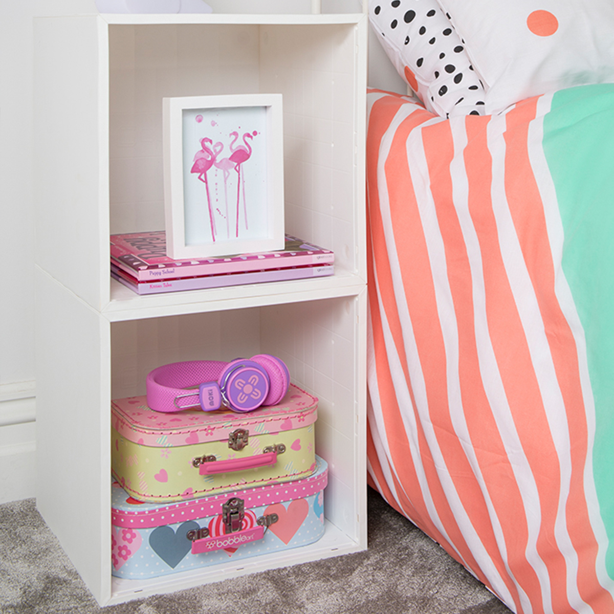 Girls Bedroom Nightstand 2 Cube Kit