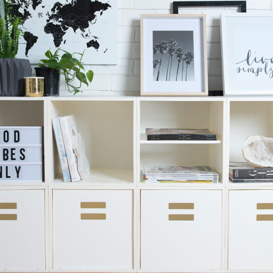 White Cube Sideboard with Crates